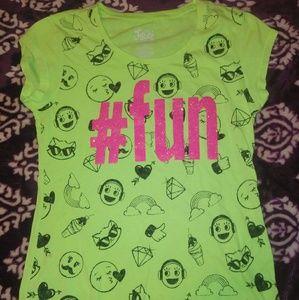 """#fun"" Girls Neon T-shirt With Emojis"